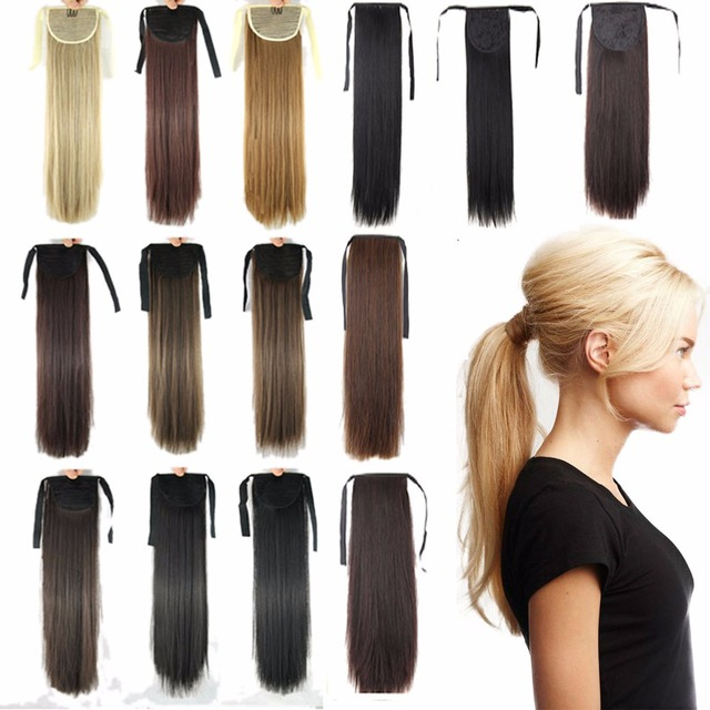 24inch Straight Ponytails Pony Tail Extension Hair Clip In On Tails