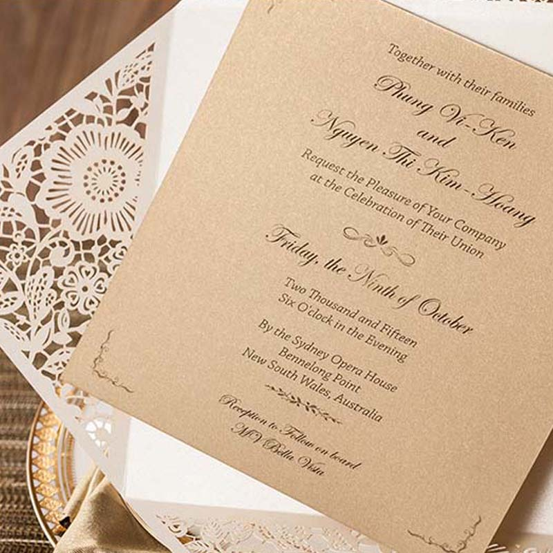 100pcs Laser Cut White Wedding Invitations Cards Hollow Flora ...