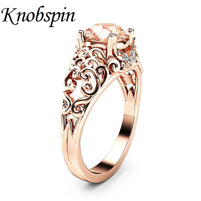 2018 New Hollow Pattern Champagne CZ Stone Wedding Rings European Rose Gold Color Women's Rings Party Jewelry anillos anel