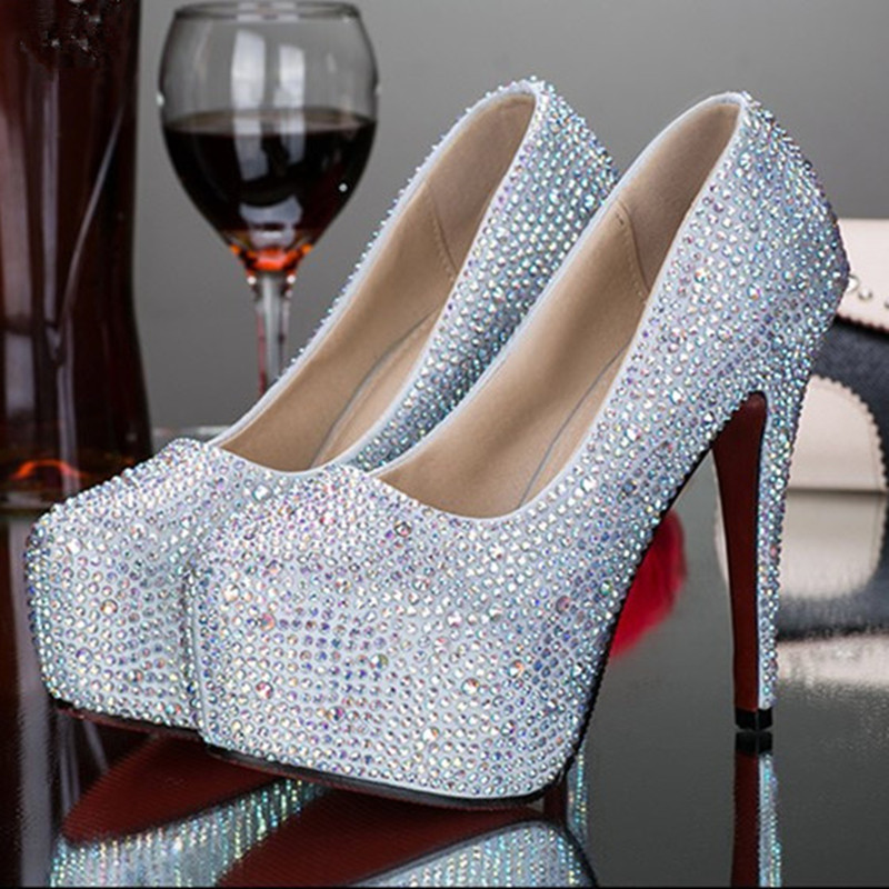Perfect 2016 women sexy silver gold rhinestone crystal wedding platform high heels prom shoes zapatos sapato