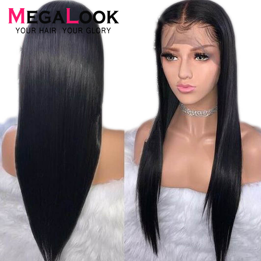 Straight Human Hair Wigs 360 Lace Frontal Wig Pre Plucked With Baby Hair Frontal Wig Malaysian Remy Hair Wig Megalook