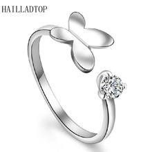 Модное регулируемое серебряное кольцо с бабочкой Кристальное