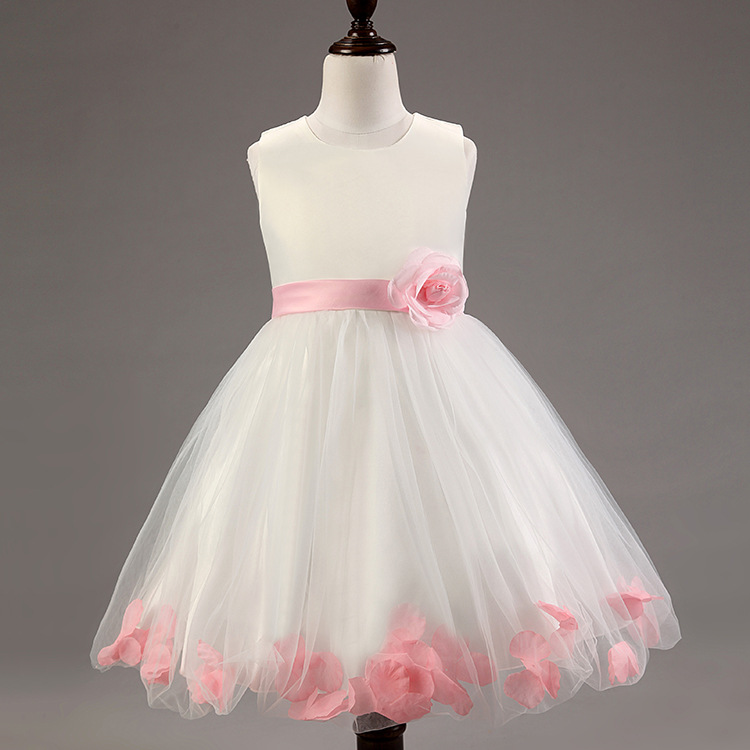 Flower Girl Dresses 8 Colors white with Rose Petal Dress Wedding Easter Bridesmaid for Baby Children Toddler Teen Girls Cute 65