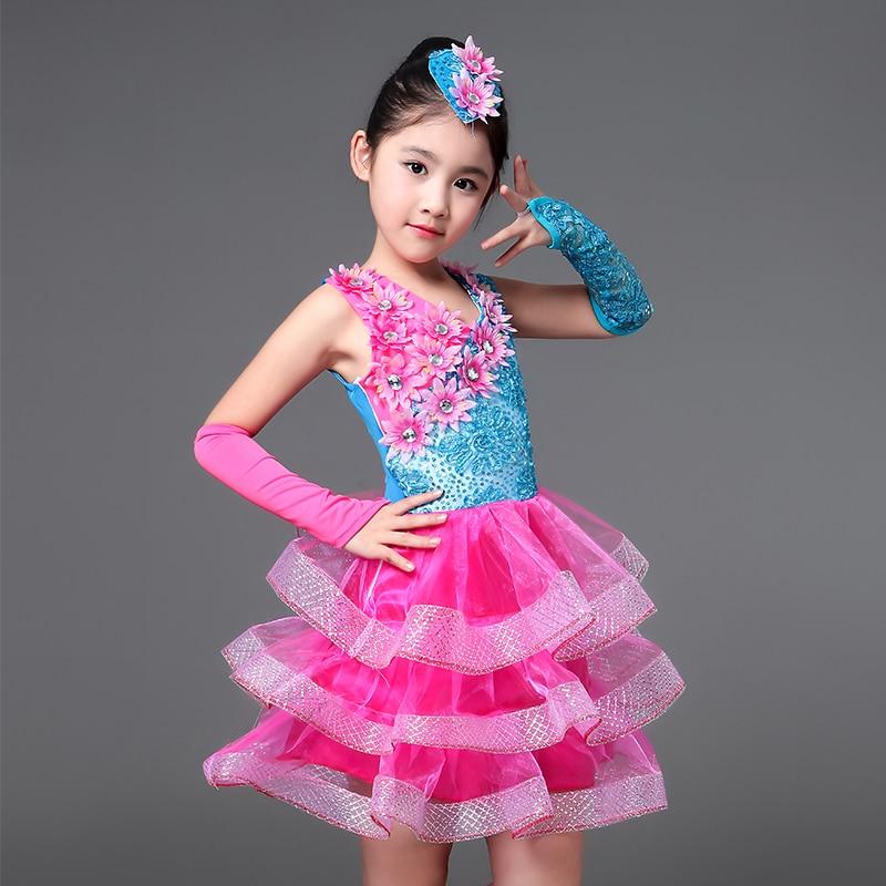 Kinder leistung blume tanz kleid für mädchen moderne salsa dance kostüm tanzen kleid der mädchen kinder bühne kostüm
