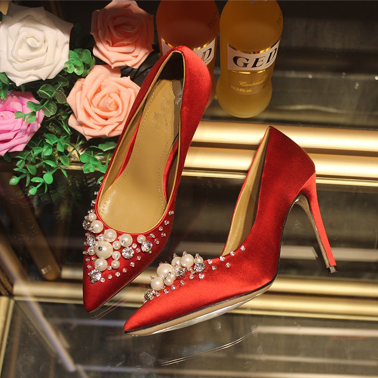 Spring Autumn Sexy Silk Women High Heels Nightclub Shoes Pointed Toe Diamond butterfly Wedding Shoes Women Pumps Zapatos Mujer