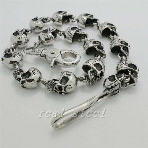 Wholesale Mens Polishing Skull Links Cool Man Stainless Steel Charm Chain Gothic Punk Jean Biker Chain Free Shipping недорго, оригинальная цена