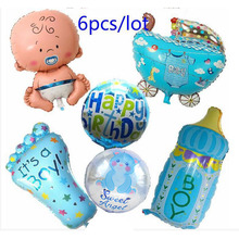 Globos Baby Shower 6pcs/lot Air Balloons 1st Birthday Party Decoration Foil Ballons Girl & Boy Happy Helium balls