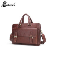 CONTACT S MB059 Leather Male Bag Men S Briefcase Laptop Shoulder Bags Business Men S Bags