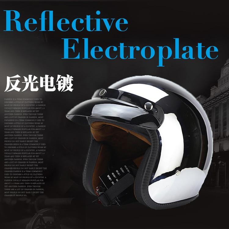 Brands vintage motorcycle helmet jet capacetes de motociclista harley sliver chrome vespa cascos para moto cafe racer mirror in Helmets from Automobiles Motorcycles