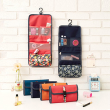 цены 2017 NEW Arrival Make Up Cosmetic Bag Case Women Makeup Bag Hanging Toiletries Travel Kit Jewelry Organizer Cosmetic Case 64062