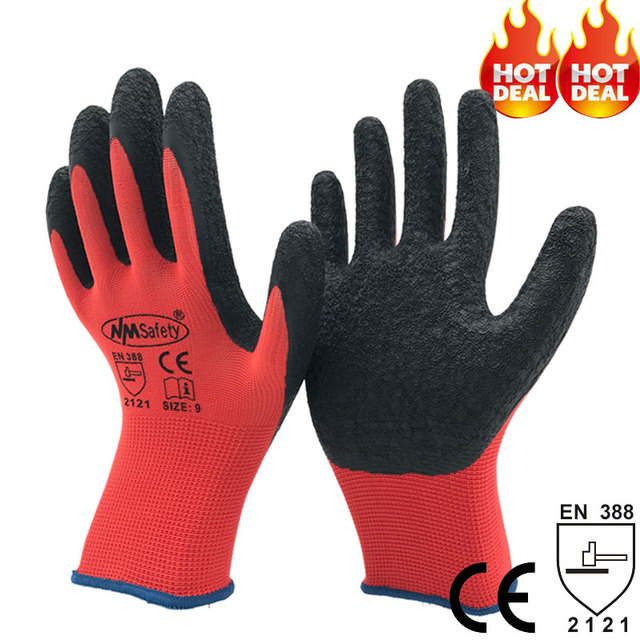NMSAFETY 13G latex coated light industrial gloves gardening gloves latex garden gloves many color option buy gloves online