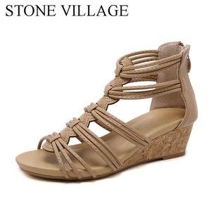 Image 3 - Steen Dorp Nieuwe Aankomst Vrouwen Schoenen Comfort Rome Gladiator Casual Strand Sandalen Vrouw Zomer Zip Sandalias Grote Size 35 42