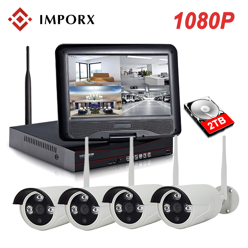 IMPORX WIFI IP Bullet Camera 1080P 4CH NVR Wireless CCTV Security System Kit Infrared 4PCS Cam Remote Viewing by IP Pro 2TB HDD