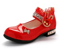 Top Fashion Female Child Patent Leather Shoes Spring Autumn Primary School Students High Heeled Princess Girls