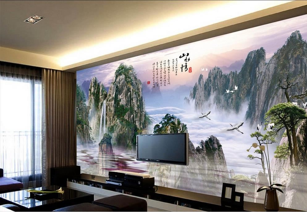 Customize 3d photo mural wallpaper chinese painting for Kitchen wallpaper 3d