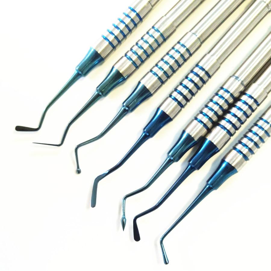 7 шт. зубная композитная смола, наполнитель шпатель с титановым покрытием, набор наполнителя из смолы с толстой ручкой, набор для восстановл...