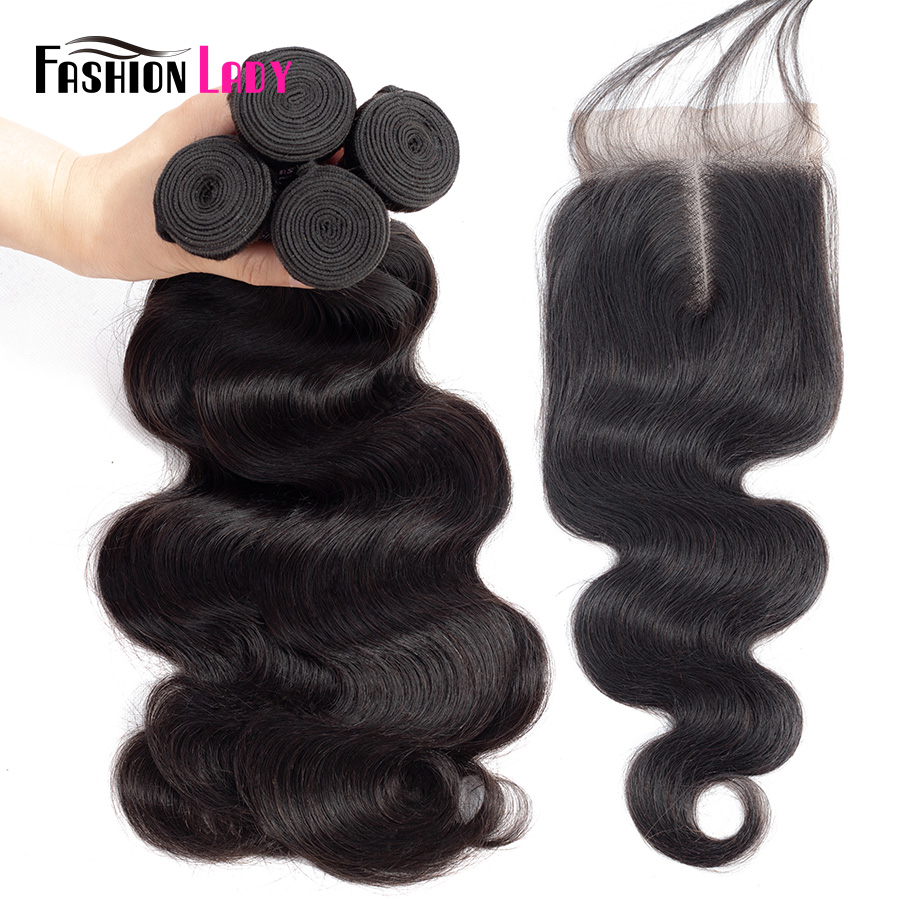 Fashion Lady Pre-colored Brazilian Weave Bodywave Bundles Human Hair 3/4 Bundles With Closure 1b# Middle Part Hair Weft Non-remy