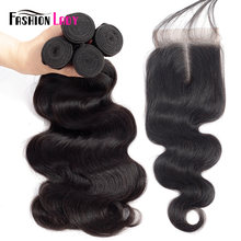 Fashion Lady Pre-colored Brazilian Weave Bodywave Bundles Human Hair 3/4 Bundles With Closure 1b# Middle Part Hair Weft Non-remy(China)