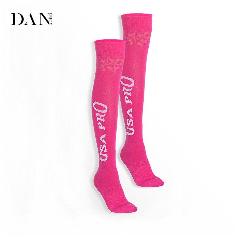 DANENJOY Yoga Socks Women Long Knee Sports Stocking Fitness Yoga Pilates Running Sock Comfortable socks 3 Colors maillot de foot