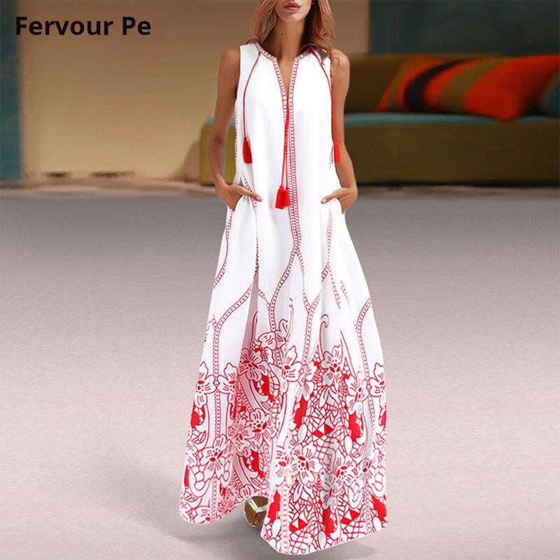 New 2019 Women Clothing Oriental Vintage Tassel Long Lined dress party Sleeveless sundress Loose Plus large Size dresses