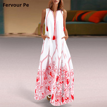 Summer hot Women's Clothing Oriental Vintage Tassel Long Lined dress party Sleeveless sundress Loose Plus large Size