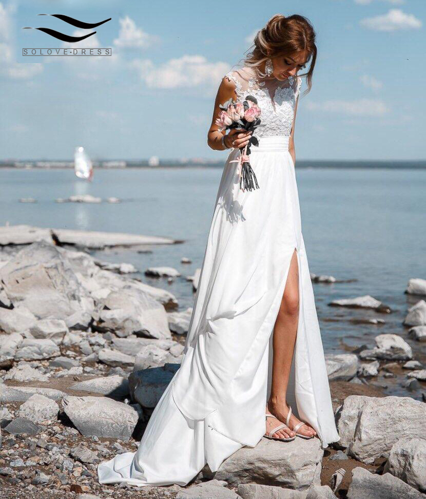 Solovedress Side Slit Sexy See Through V-Back Lace Applique Wedding Dress Tulle Real Photo Beach Bridal Gown SLD-W592
