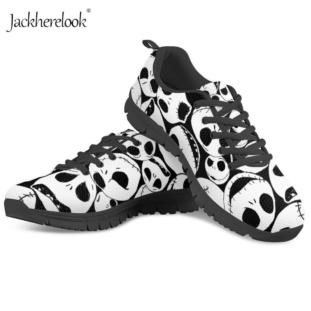 Jackherelook The Nightmare Before Christmas Block Sneakers Women Custom Shoes Breathable Spring Summer Mesh Walking Casual Shoes