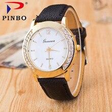 2017 Luxury Dress Clock Female Brand Ladies Watch Diamond Analog Leather Band Quartz Wrist Watches Women Relogio Feminino PINBO