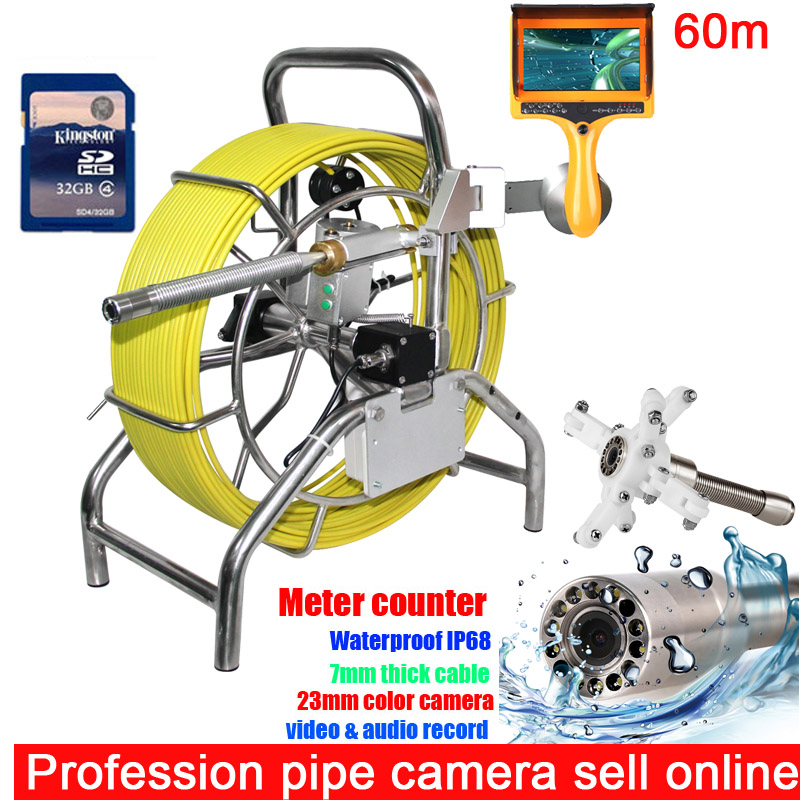 80M 100M Sewer Waterproof Camera Water Pipe Well Monitoring System With 7 LCD Monitor DVR meter counter with 7mm cable