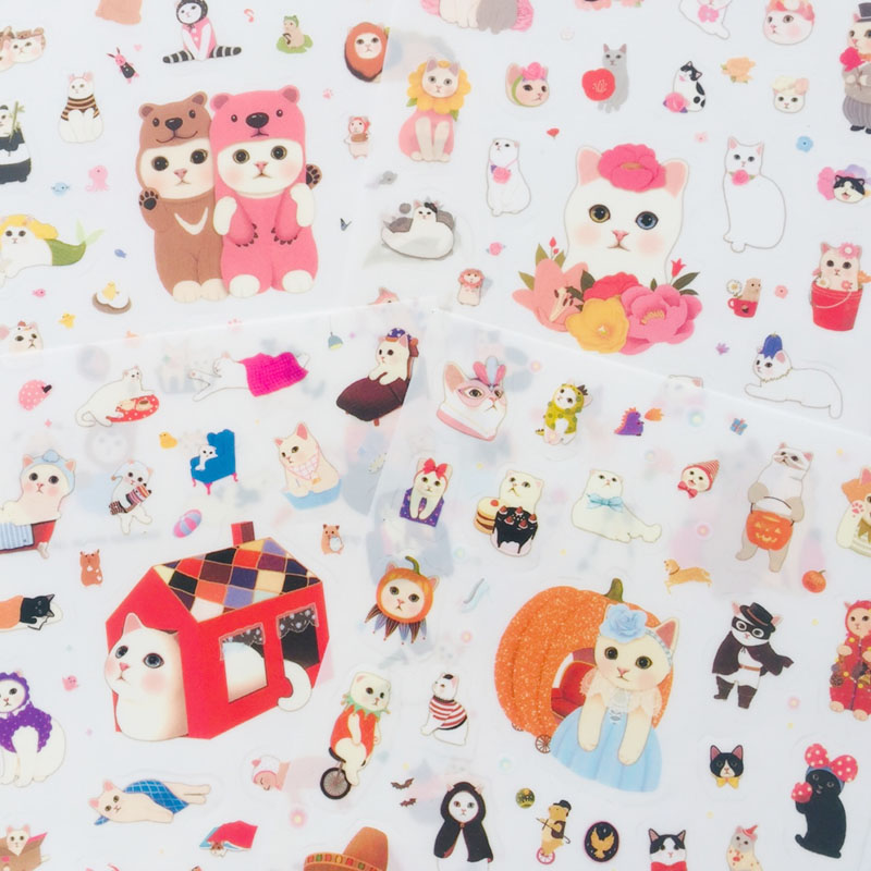 4 Sheets Sweet Cute Cat Kitten DIY Decorative Stickers Diary Phone Bottle Notebook Decoration Stick Label