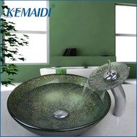 KEMAIDI New Bathroom Waterfall Tempered Glass Sinks Hand Painting Victory Match Brass Faucet Bathroom Sinks Set