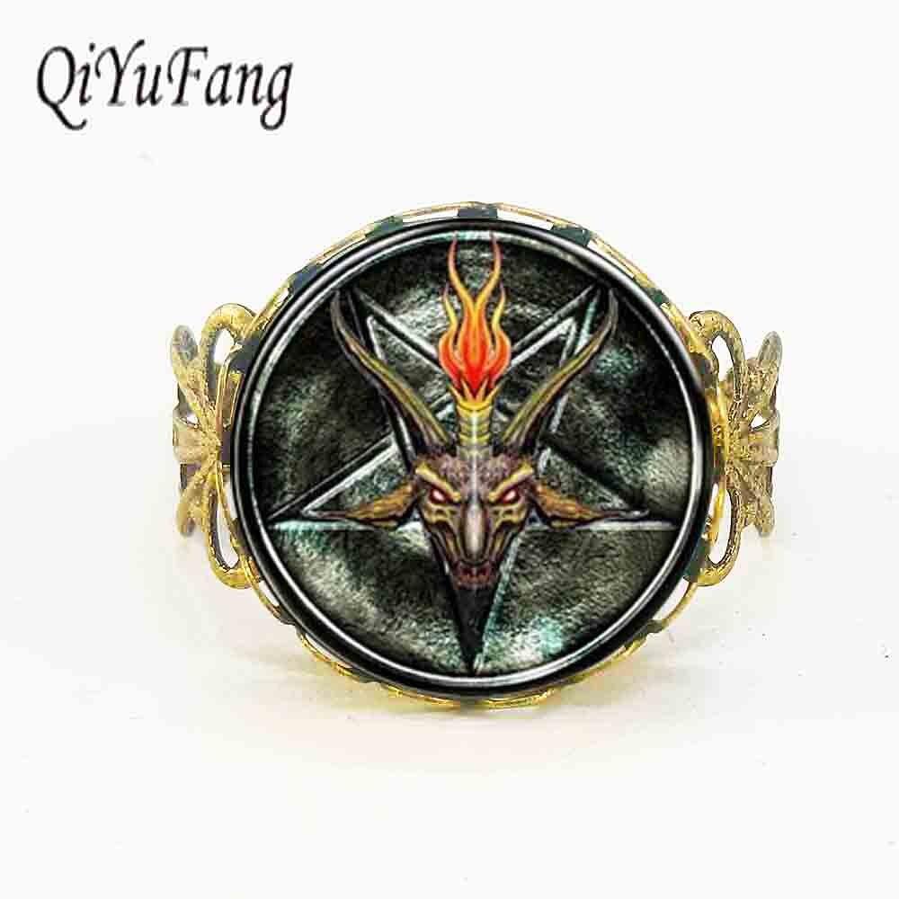 Cheap Price Steampunk Baphomet Inverted Pentagram Statement Goat Head Ring Satanism Doctor Who 1pcs/lot Women Mens Vintage Rings Adjustable