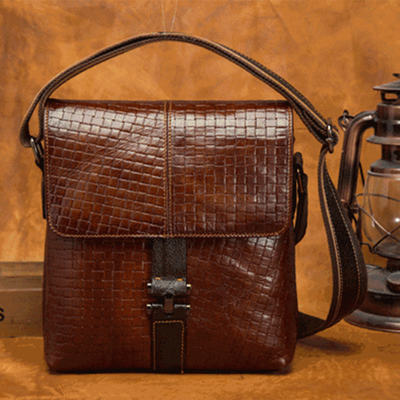 Hot Sale Oil Wax Cowhide Genuine Leather Men Vintage Shoulder Bag Casual  Male Cross Body Briefcase Business Messenger Bags купить