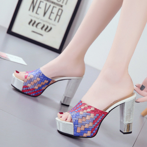 Image 3 - Lucyever 2019 New Women Summer Slippers Fashion Sexy Super Square High Heels Peep Toe Party Shoes Woman Platform Sandals