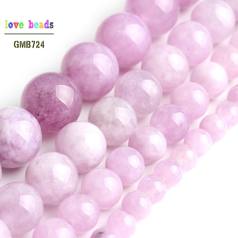 Purple Angelite Stone Round Loose Spodumene Beads For Jewelry Making 15'' Strand  4mm 6mm 8mm 10mm