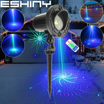 ESHINY Outdoor Blue Green Laser 16 Patterns Projector IP44 Holiday Party Bar Xmas Tree House Wall Landscape Garden Light T225D2
