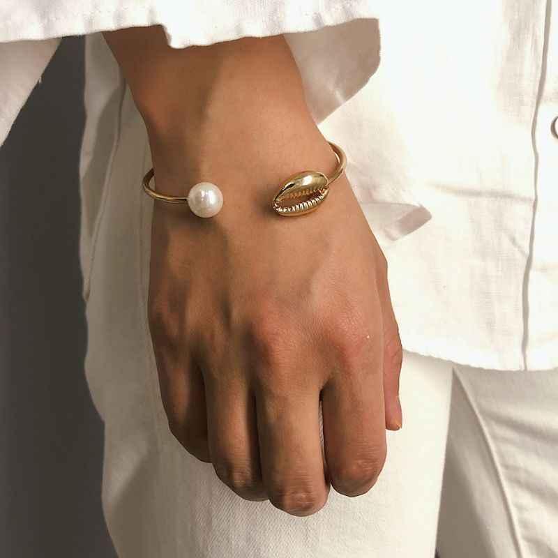 Минималистский оболочка жемчужные провода наручный браслет нарукавники манжеты Браслеты Регулируемый Для женщин