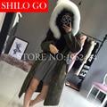 Plus size 2016 fashion new winter women high quality lamb fur coat hooded fox fur collar lovely fur long zipper fur coat & XL