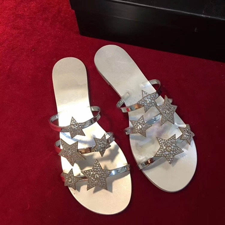 f10032692 Detail Feedback Questions about Patent Leather Rhinestone Stars Flat  Slippers Women Beach Shoes Summer Slides Home Sandales Femme 2018 Nouveau  Cutouts ...