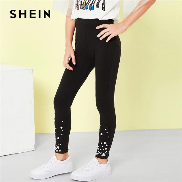 SHEIN/черные зауженные повседневные брюки с эластичной резинкой на талии и жемчугом, Украшенные бусинами леггинсы для девочек 2019 г. весенние модные симпатичный карандаш, детские штаны