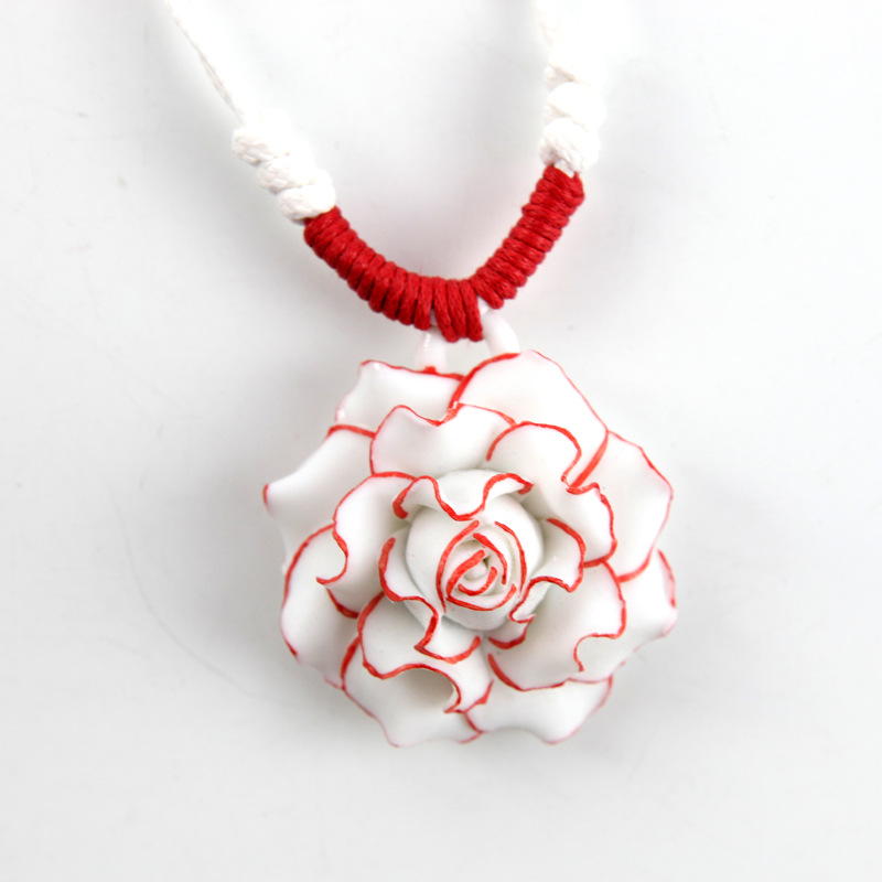 8SEASONS Handmade Chinese Style Necklace White Braided Adjustable Rope 3D Red Rose Pendants For Women Jewelry Gift , 1 Piece