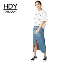 HDY Haoduoyi Femme Summer Stylish Casual Tops Girls Simple Embroidery Cartoon Bees Round Collar Pure White Befree T-shirt джемпер befree befree mp002xw1hy6m