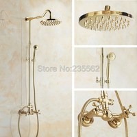 Luxury Bathroom 8 Inch Waterfall Rainfall Shower Head Golden Brass Exposed Shower Faucet Set Wall Mounted