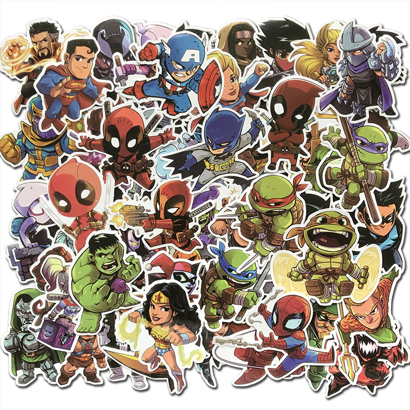 50Pcs/Lot Cartoon Cute Super Hero Stickers MARVEL DC Graffiti Decal Bomb Sticker Pack For Kids Toy DIY Skateboard Luggage Laptop50Pcs/Lot Cartoon Cute Super Hero Stickers MARVEL DC Graffiti Decal Bomb Sticker Pack For Kids Toy DIY Skateboard Luggage Laptop