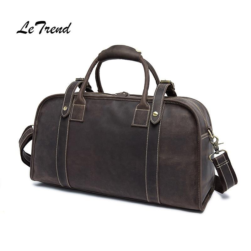 Letrend Hand Travel Bag Men Genuine Leather Multifunction Shoulder Bags Trolley Vintage Suitcases New Solid Luggage Handbag