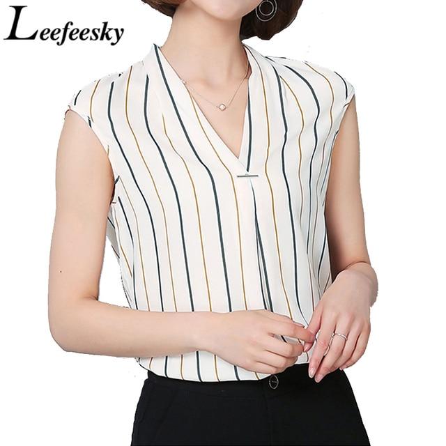 b19dc099fd Womens Summer Sleeveless Tops 2017 Korean Fashion Striped Chiffon Blouse  Shirt Plus Size Women Clothing Casual Top Femme Bluas