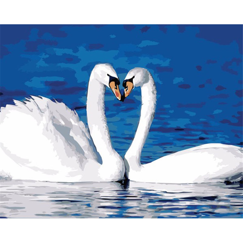 DIY Digital Painting By Numbers Package Swan couples oil painting mural Kits Coloring Wall Art Picture Gift frameless