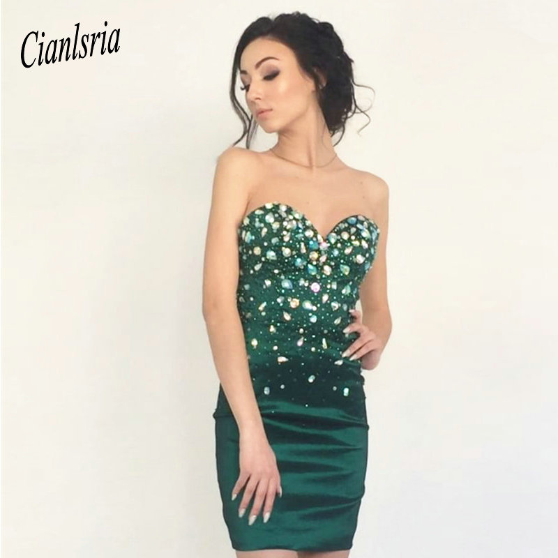 Green Party Dresses Sexy Beaded Crystal Sheath Arabic Mini Cocktail Dresses