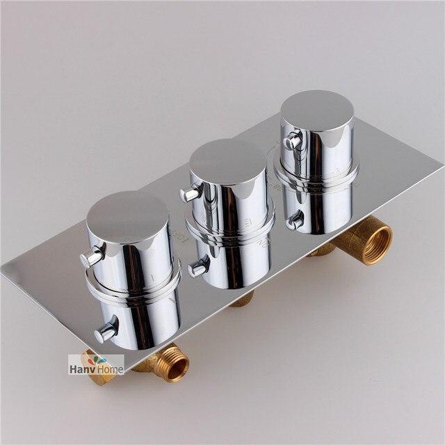 3 FunctionBrass Thermostatic Mixing Valve, Adjust the Mixing Water Temperature Thermostatic mixer for Shower Set