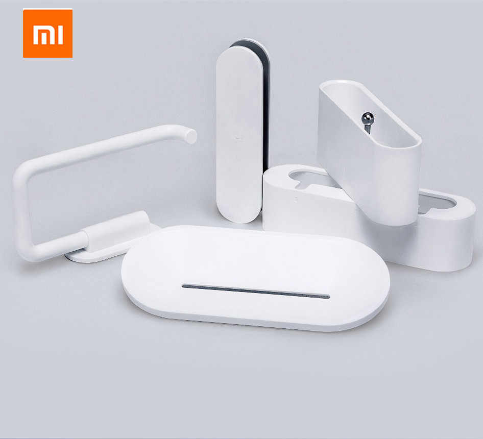 Novo xiaomi hl 5 em 1 gadgets para banheiro titular do telefone móvel mijia caso soapbox toalete rolo titular para xiaomi mijia casa inteligente